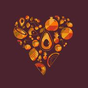 Stock Illustration of Vector colorful  fruit heart