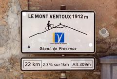 Road sign to the mont ventoux in bedoin france Stock Photos