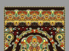Stock Illustration of elaborate original floral large area carpet design for print