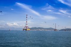 Cable car to Vinpearl Island Nha Trang South Vietnam Vietnam Asia - stock photo