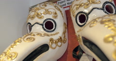 Vintage Venetian bird masks in the store Stock Footage