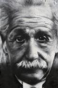 Graffiti portrait of Albert Einstein Berlin on a piece of the Berlin Wall Stock Photos
