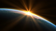 Stock Video Footage of Sunshine Over The Earth. Loop. 3840x2160. 3D Animation.