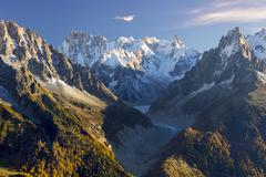 Stock Photo of Mer de Glace glacier surrounded by peaks of Mont Blanc Chamonix Rhone Alpes