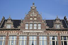 Stock Photo of Gable of a historic building on the Grote Markt Haarlem province of North