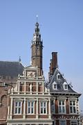 Town Hall with St Bavokerk church Grote Markt Haarlem province of North Holland Stock Photos