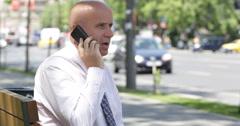 Exterior Office Fieldwork Businessman Phone Talking Partnership Financial Deal Stock Footage