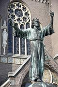 Christ statue Matthias Laurentius church Alkmaar North Holland The Netherlands - stock photo