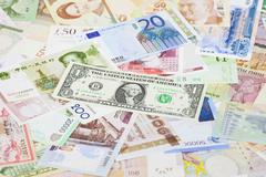 International currency banknotes Stock Photos