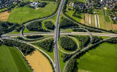 Aerial view Monchengladbach motorway junction junction of the A61 and A52 - stock photo