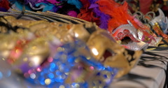 Colorful Venetian masks on the shop counter Stock Footage