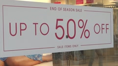 Shopping Mall People - 05 - Passage Sale Sign 50% Off Stock Footage