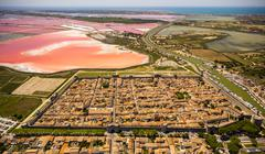 Salines and the historic centre in the quadrilateral of AiguesMortes Camargue - stock photo