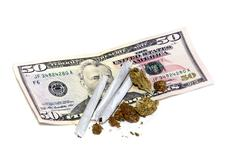 joints with buds and money - stock photo