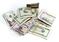 American Dollars on white - stock photo