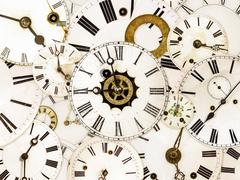 Various vintage clock faces - stock photo