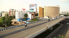 Road through Bridge at Hyderabad Stock Footage