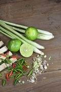 Herbs and spices Thai Tom Yam soup - stock photo