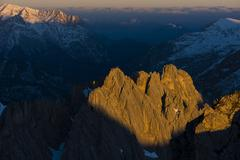 Grubeisen peak in morning light from the Hafelekar peak Inntal chain Seegrube Stock Photos