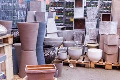 Glazed and unglazed ceramic flower pots Stock Photos