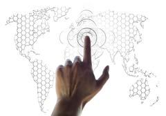 hand and world map digital searching concept - stock illustration