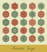 Set of 25 mandala design, circle ornament collection for print Stock Illustration