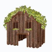wood house isolated on white background - stock illustration
