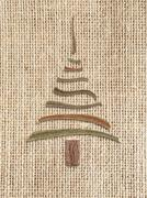 Natural burlap background   with christmas tree Stock Illustration