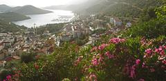 Stock Photo of View of the town of Kaş Lycian coast Antalya Province Turkey Asia