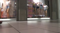 Shopping Mall People - 15 - Passage, Vitrine, Mannequins Stock Footage
