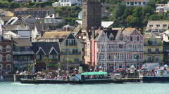 Paddle Steamer Boat at Dartmouth River Dart Quaside and Waterfront Buildings Stock Footage
