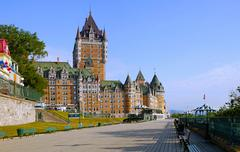 Chateau Frontenac and Dufferin Terrace Quebec City Quebec Canada North America - stock photo