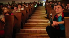 Students in auditorium of Moscow State University. Stock Footage