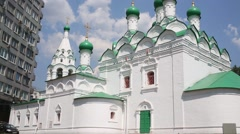 Church of St. Simeon Stylites and building in Moscow, Russia Stock Footage