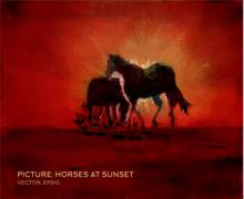 Horses at sunset, oil painting on silk in vector form Stock Illustration
