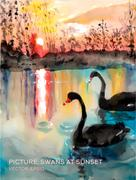 Swans in a pond at sunset, vector version of oil paintings on silk - stock illustration