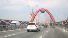 Cars on Picturesque bridge in Moscow, Russia. Stock Footage