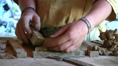 Making clay roof tiles, Guedelon Medieval Castle, Burgundy, France Stock Footage