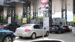 Cars queue for turnpike road in Moscow, Russia. Stock Footage