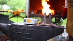 Anvil, hammer, blacksmith hand and furnace outdoor Stock Footage