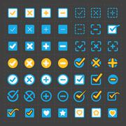 Vector colorful confirm icons set - stock illustration
