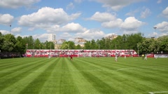 Football field with two teams at match Senegal - Russia Stock Footage