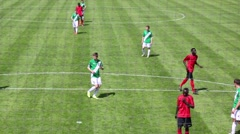 Players run during match Senegal - Russia at Spartakovec stadium Stock Footage