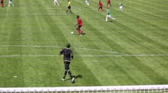 Men play football during match Senegal - Russia at stadium Stock Footage