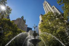 Stock Photo of City Hall Park and the Woolworth Building Manhattan New York United States