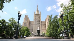 Kudrinskaya Square Building and fountain in park in Moscow Stock Footage