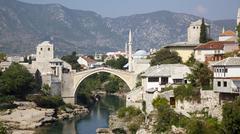 Stock Photo of Mostar Bridge Old Bridge Stari Most Neretva River Mostar Bosnia and Herzegovina