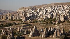 Rock formations Goreme Cappadocia Central Anatolia Region Turkey Asia - stock photo