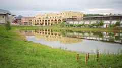 Pond in cultural complex Etnomir in Borovsk. Stock Footage