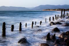 Groynes on Rossbehy Beach Glenbeigh County Kerry Ireland Europe - stock photo